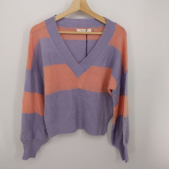 Mustard Seed V-Neck Striped Purple Sweater Pink S